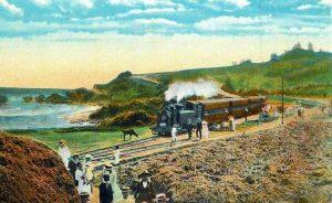 Postcard view of a passenger train at Bathsheba station on the Barbados Railway
