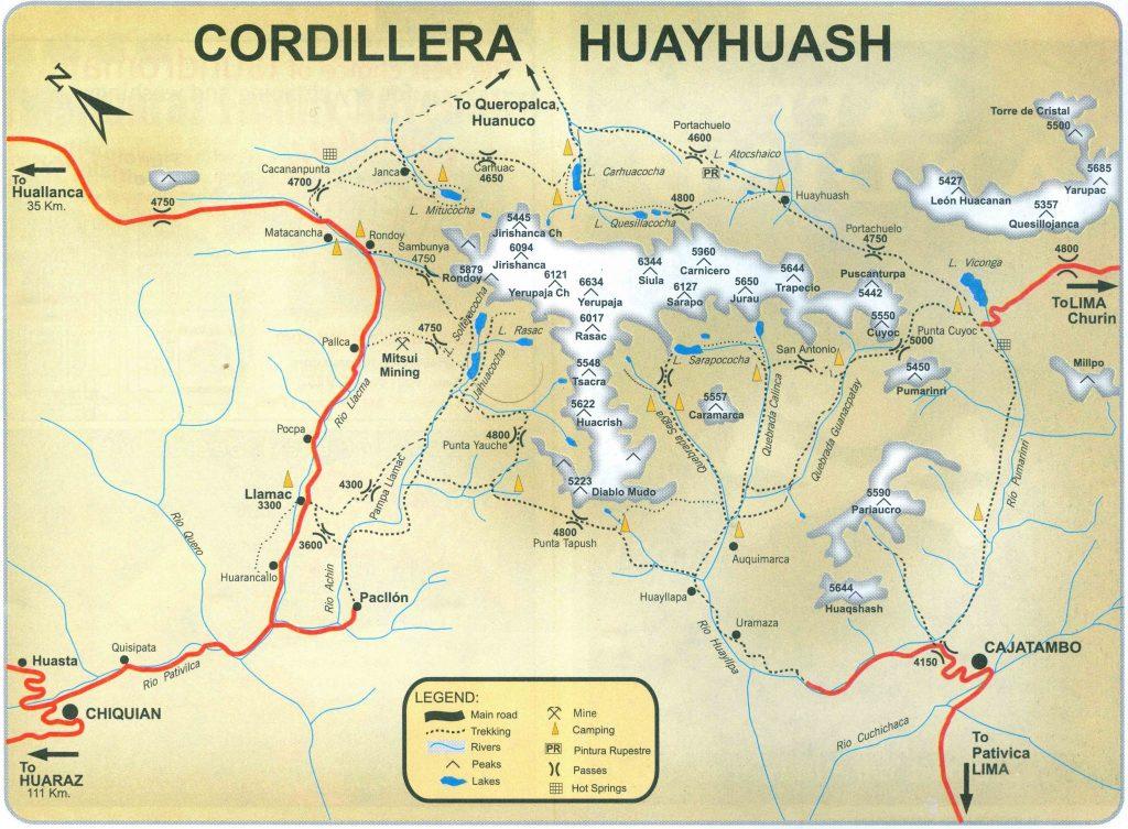 Map Circuit of Cordillera Huayhuash - Peru