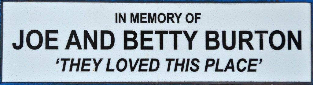 Joe & Betty Burton memorial plaque