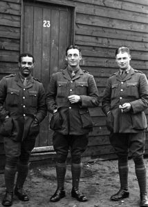 Walter Tull with fellow officers after being promoted to second lieutenant in 1917