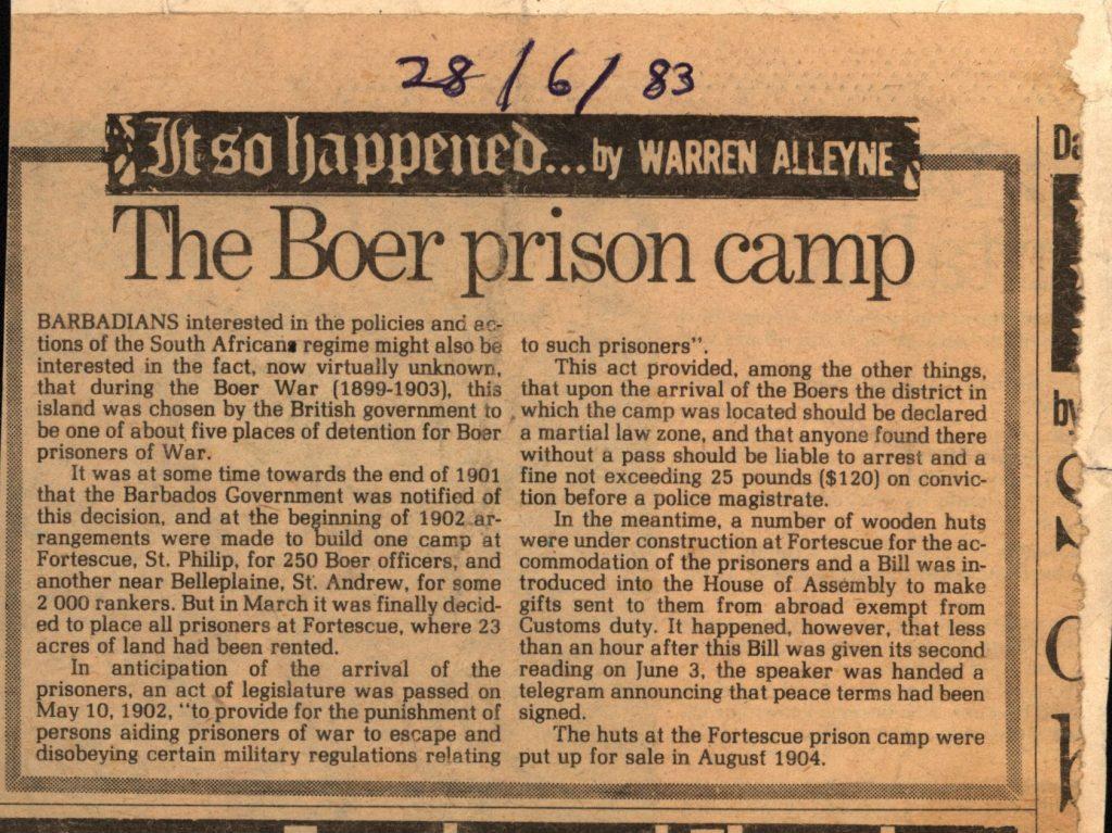 The Boer Prison Camp newspaper cutting - 28 June 1983
