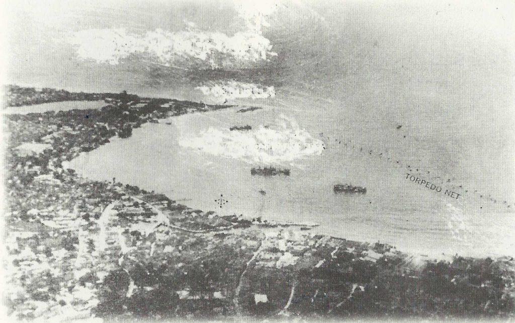 Aerial view of Carlisle Bay including torpedo net - 1942