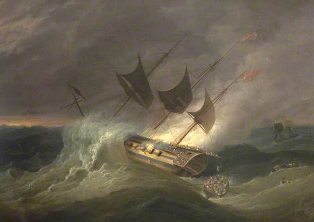 The burning of The Kent East Indiaman in the Bay of Biscay 1 March 1825