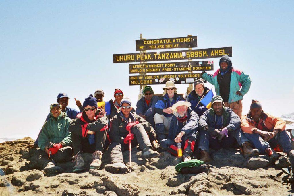 Bajans on top of Mount Kilimanjaro