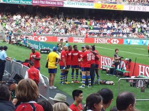 Hong Kong Sevens 2014. Bajan team warm up