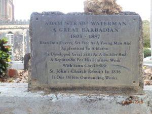 Adam Straw Waterman memorial St. Georges Church - Barbados