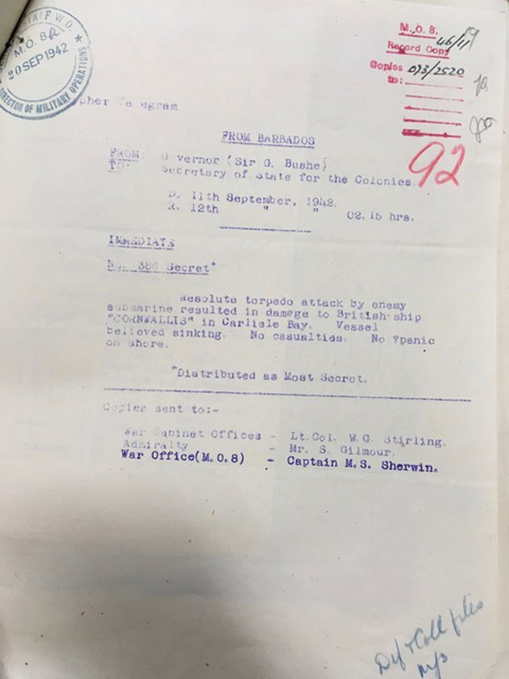 Official Colonial Office despatches CNS Cornwallis 1942