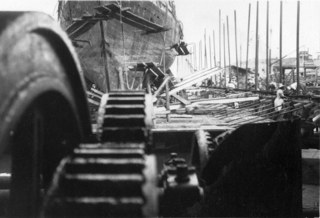 HMS Black Bear on Blackwood Screwdock c1942