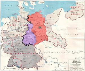 1945 Allied zones of occupation in post-war Germany
