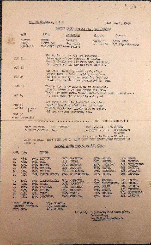 RAF 88 Squadron disbandment party 31st March 1945 Château de Monchy