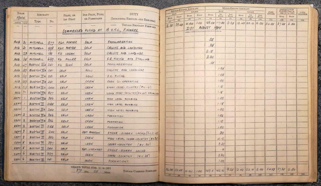 Andrew Cole RAF Pilot log book - Errol Barrow Navigator 13 OTU Finmere