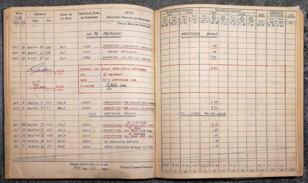 Andrew Cole RAF Pilot log book - Errol Barrow Navigator 88 Squadron