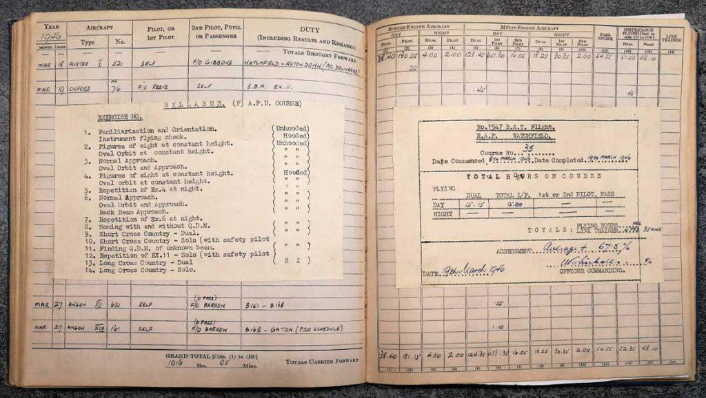 Andrew Cole RAF Pilot log book - Errol Barrow Navigator BAFO Communications Wing