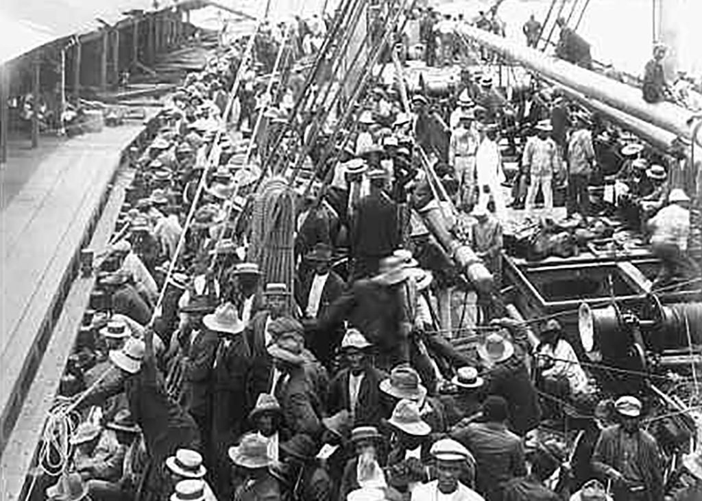 1909 Arrival Panama of SS. Ancon with 1,500 labourers from Barbados