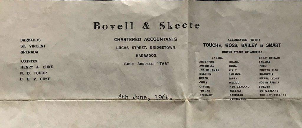 Bovell & Skeete letter head 1964