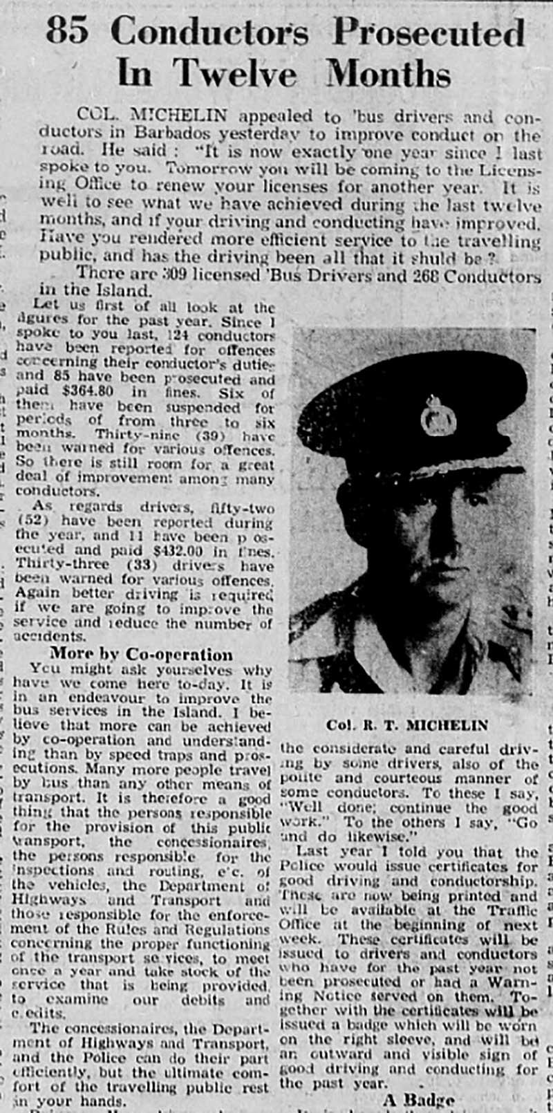 Col. Reginald Michelin, Commissioner of Police, Barbados, 1949 to 1953
