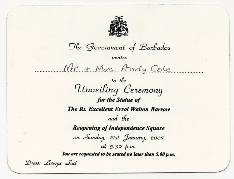 Barrow Statue Unveiling Invitation
