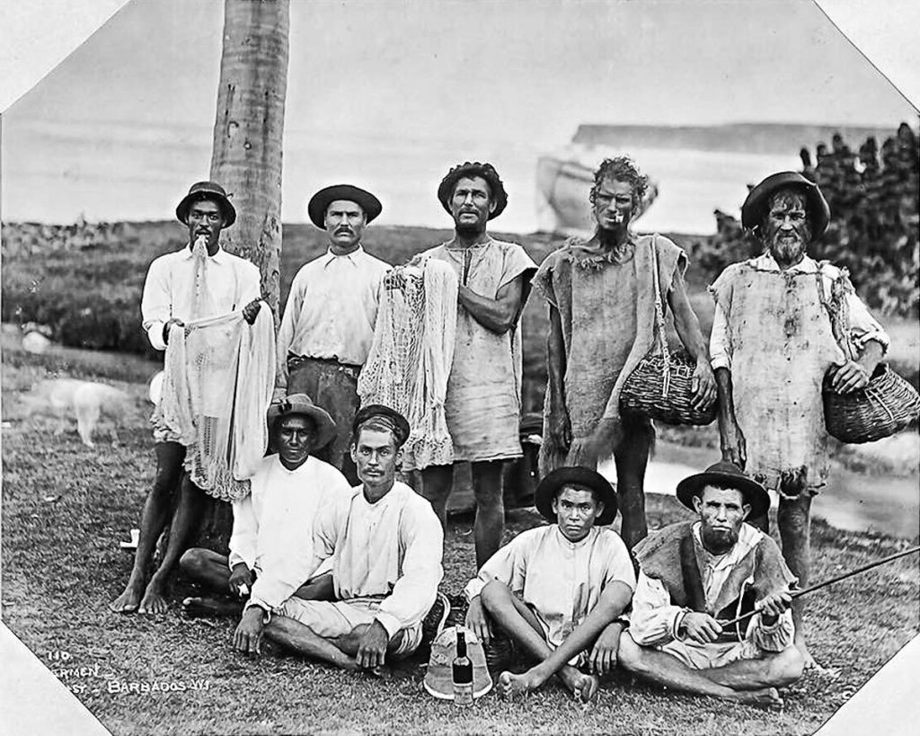 Nine Fishermen. Bath Beach East Coast, Barbados, 1896 - B&W
