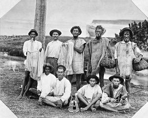Nine Fishermen. Bath Beach East Coast, Barbados, 1896 - B&W