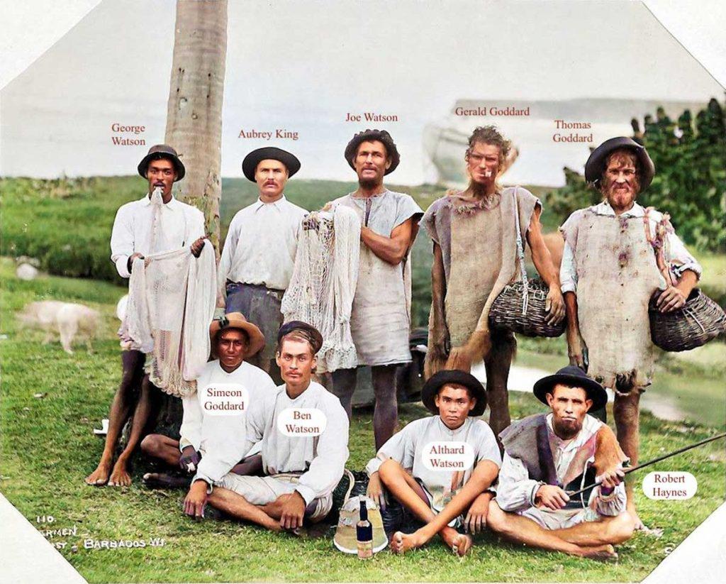 Nine Fishermen, Bath Beach, East Coast, Barbados 1896 Colourised & Named