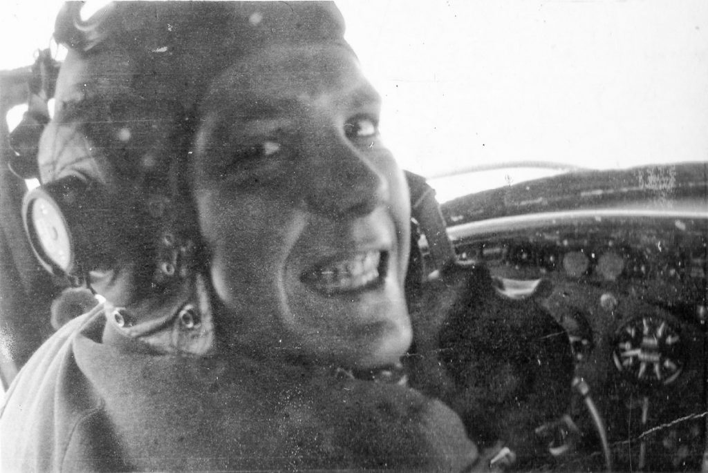 P/O Andrew Cole in Lockheed Hudson cockpit