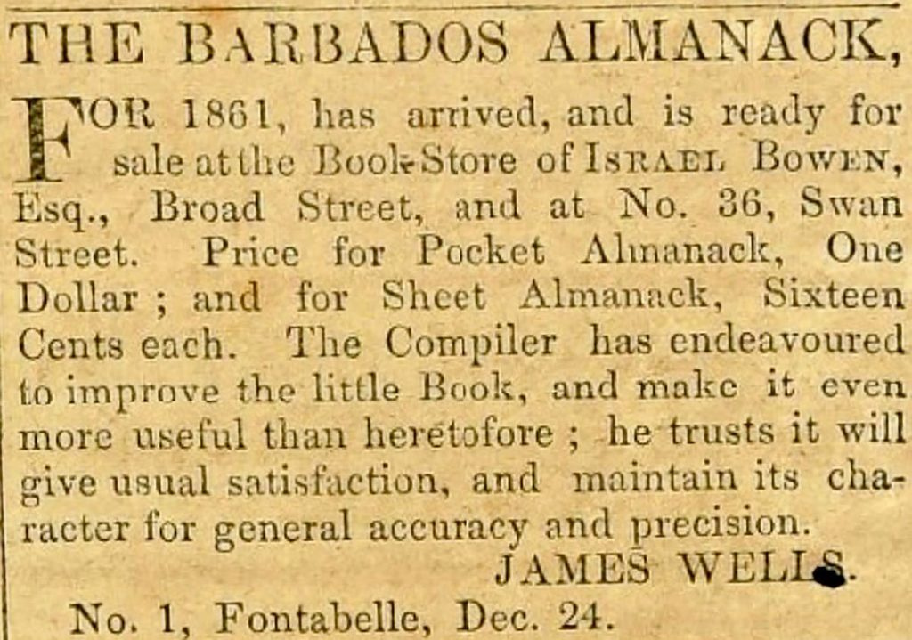 Barbados Almanac newspaper advert 1861
