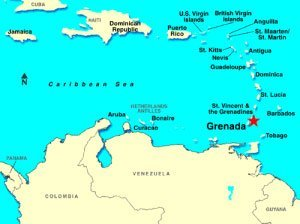 A map of the Caribbean highlighting the location of Grenada
