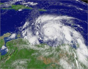A NOAA satellite image of Hurricane Ivan taken at 3:45 pm ET on Tuesday 7th September 2004 showing the eye heading west over Grenada, with sustained winds near 220 km/h