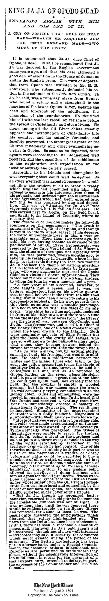 King JaJa of Opobo death annoucement New York Times 8 August 1891