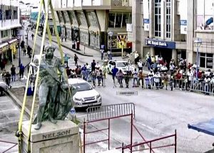 Removal of Lord Nelson Statue Bridgetown Barbados 2020