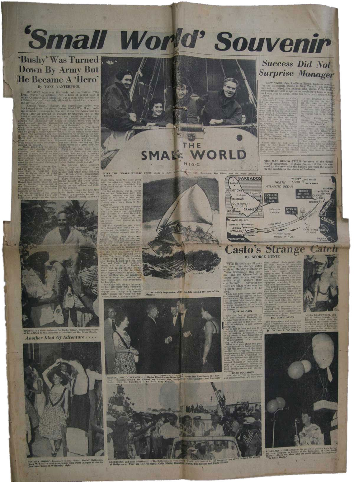 1959 Newspaper Cutting - Small World Souvenir