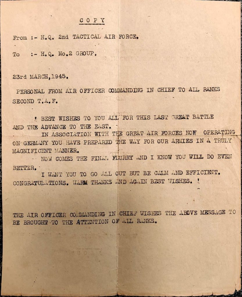 Message dated 23 March 1945 to Crews from Officer Commanding 2nd TAF