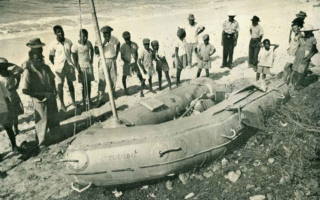 Alain Bombard zodiac L'Heretique Stroude Bay Barbados