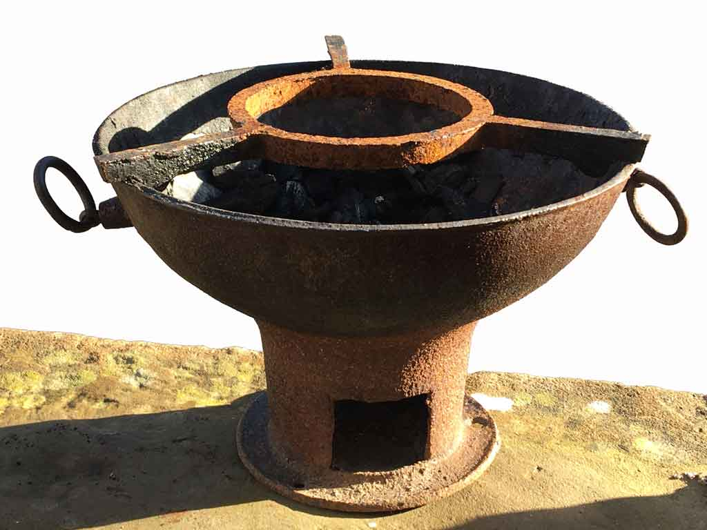 Bajan cast iron coal pot