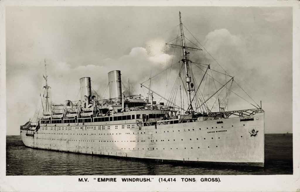 Postcard of Empire Windrush purchased by Winston Levy