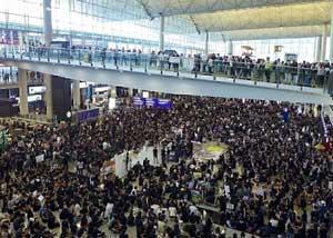 Hong Kong Chek Lap Kok pro-democracy protesters