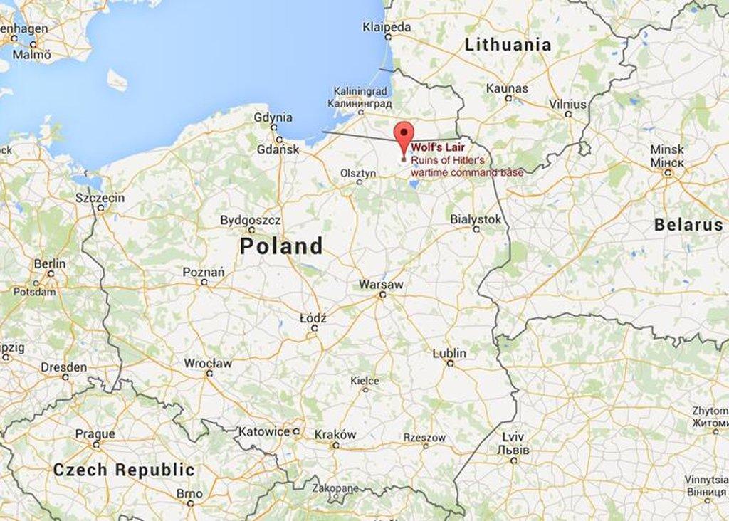 Location of Adolf Hitler's Wolf's Lair - Masurian woods near Kętrzyn in Poland
