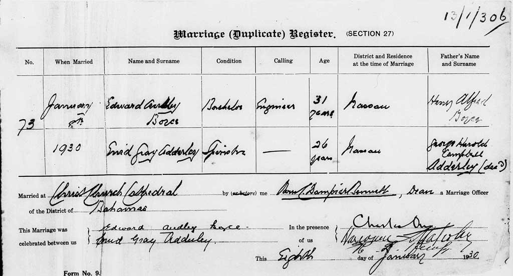 Marriage Audley Boyce to Enid Adderley 1930