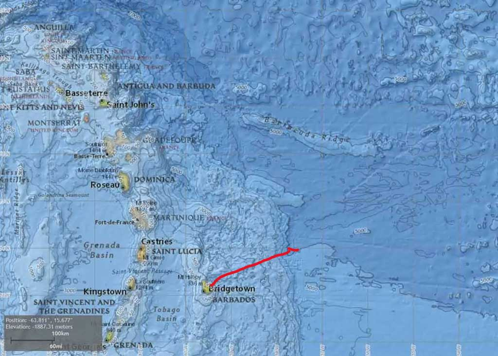Barbados - National Oceanic Atmospheric Administration (NOAA) subsea map